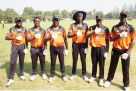 Mission India. Coach Steve Tikolo (3rd L) alongside the Future Cricket Cranes John Gabula (L), Derrick Bakunzi (2nd L), Juma Miyagi (R), Trevor Bukenya (2nd R) and Rogers Olipa donning the Omtex jersey and fielding gloves. COURTESY PHOTO