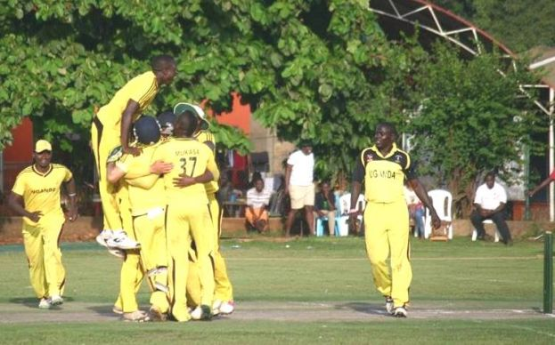 Team Uganda celebrating after the last wicket was taken