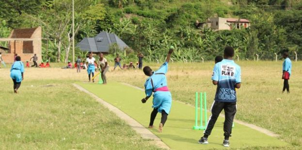 Jolly Ithungu of Kyanjuki Primary School bowling against Katiri Primary School during the Final of the U15 Girls' Tournament.