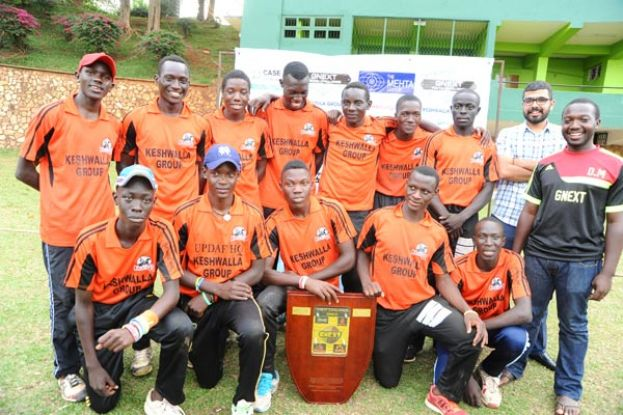 Keswala Knights players show off their shield after beating Stallions to win the GNext Challenge at Lugogo Cricket Oval on Friday. Photo by Eddie Chicco