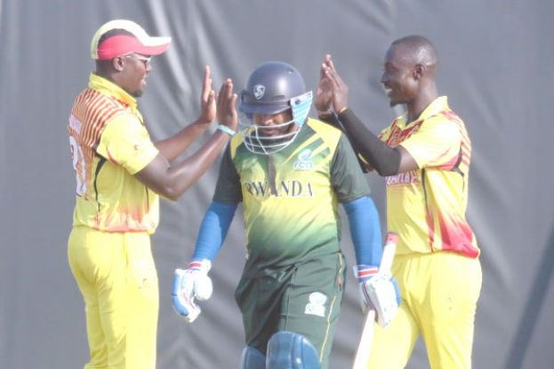 Captain Roger Mukasa (L) and left-arm opening bowler Charles Waiswa haven't had a chance to celebrate wickets at the Africa T20 Cup in Pietermaritzburg, South Africa. Photo by Innocent Ndawula