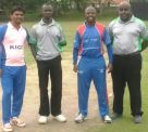 The captains of Nile CC, KICC, and the Umpires take a photo after the Toss.