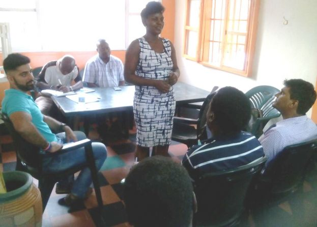 Mary Nanderenga addresses the delegates during the elections