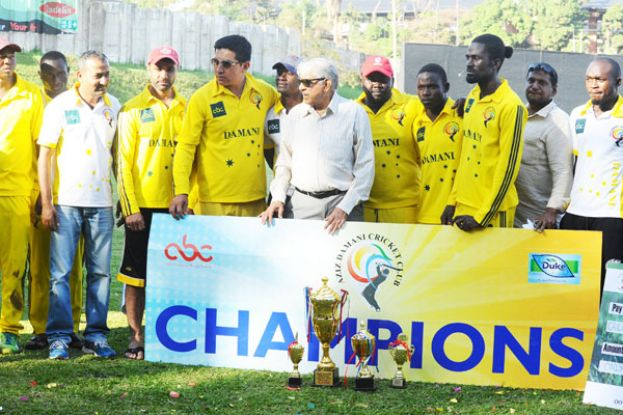 Club owner Aziz Damani (center in shades), captain Ghulam Hunzai (5th L) and CEO Siva Koti Reddy (2nd R) have set out a plan that will see the club grow from strength to strength as a sports club. The club also unveiled two new signings Emmanuel Isaneez (L) and Kenneth Waisawa (4th R). PHOTO BY EDDIE CHICCO