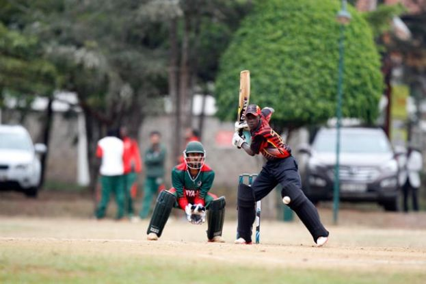 Match Winner. All rounder Siraje Nsubuga was the enforcer of the day with a knock of 43 runs in a partnership of 67 for the seventh wicket with captain Kenneth Waiswa. The 16-year-old later contributed two wickets in a tight spell of spin bowling as Uganda toppled Kenya. PHOTO BY MARTIN MUKANGU/NATION MEDIA