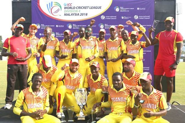 Top of Div IV: Team Uganda players make a triumphant pose yesterday. PHOTO BY icc/mca