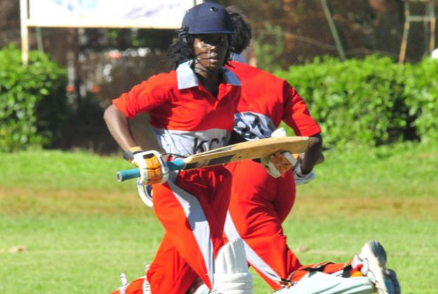 KICC's Scovia Aryemo (L) and Scovia Akello scamper for a single during a previous league fixture at Lugogo. Pioneer upset KICC on Saturday. PHOTO BY EDDIE CHICCO.