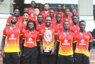 Cricket Cranes players pose with the trophy outside Cafe Javas at Kisementi yesterday. PHOTO BY E. CHICCO
