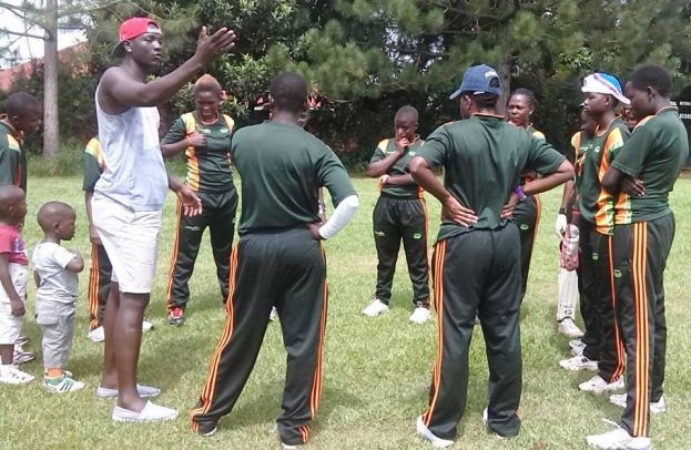 Tornado bee cc team during a team meeting before their match against kicc