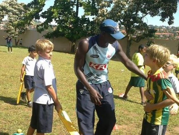 Ogwang during a coaching session at Ambrosoli International School