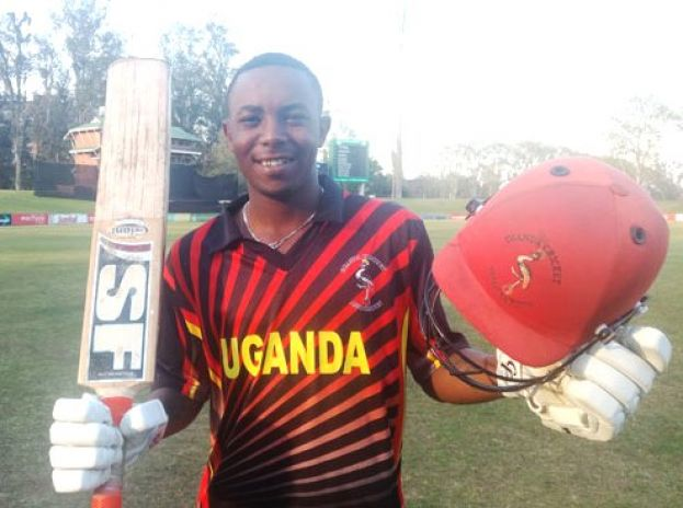 Special talent: Uganda's batsman Arinaitwe poses as he celebrate his swashbuckling ton of 107 off 51 against Kwazulu Natal Inland Academy at Pietermaritzburg Oval in South Africa yesterday. PHOTO BY INNOCENT NDAWULA