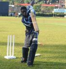 Youngster Siraje Nsubuga undergoing light batting practice at Lugogo. Photo by E. Chicco