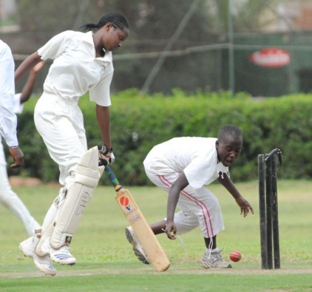 Gayaza High School Batswoman avoiding being run out