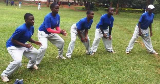 Jinja SSS team going through the fielding drills.