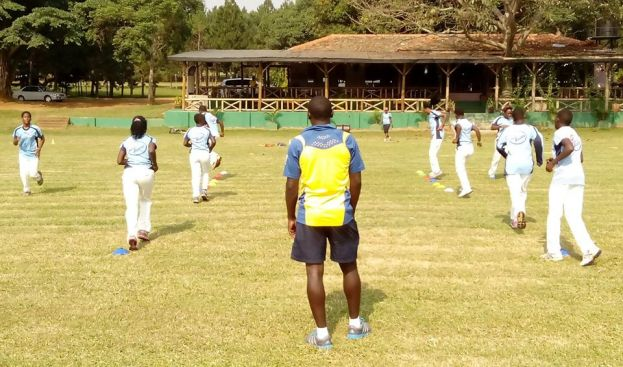 Senior women National team during the warm up a head of their trial matches at Entebbe ground. photo by Franklyn Najjumba