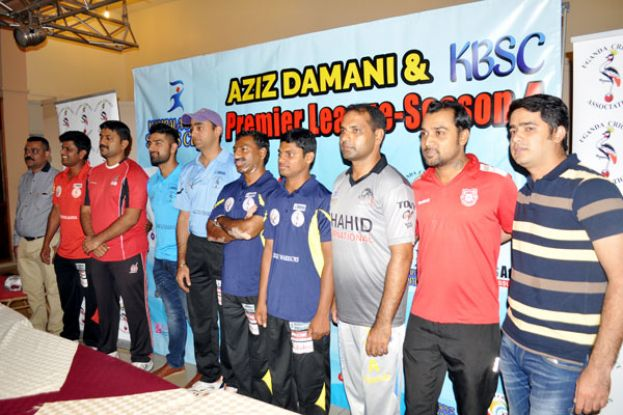 Some of the captains and officials of the 20 teams that are taking part in this year's edition at the launch of the Aziz Damani-KBSC sponsored Season 4 Premier League. PHOTO BY EDDIE CHICCO