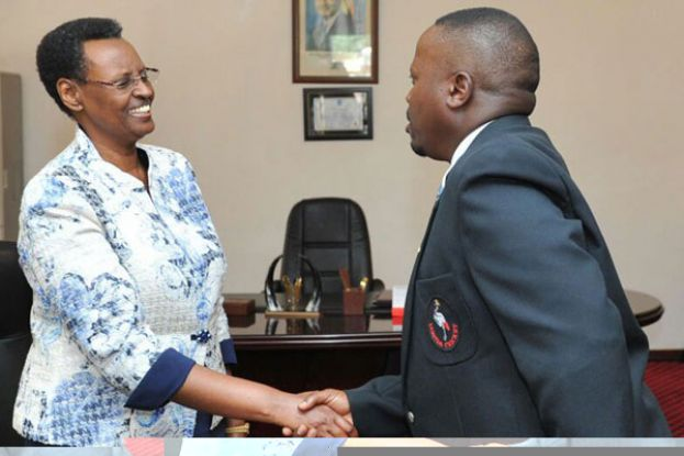 First Lady Janet Kataha Museveni (left) welcoming Uganda Cricket Association chairman Richard Mwami. COURTESY PHOTO