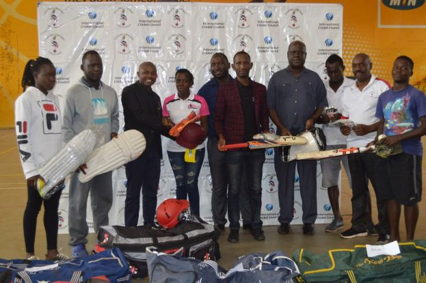 CRICKET UGANDA GIVES EQUIPMENT TO SCHOOLS AND WOMEN'S CLUBS.