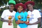 From Left: Esther Iloku, Mildred Anyigo, Joyce Mary Apio took the best wicketkeeper, batter and bowler awards respectively. Photo by Eddie Chicco